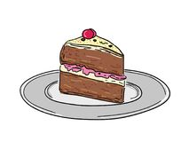 Piece of birthday cakes royalty free stock images