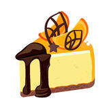 Piece of birthday cheesecake with chocolate topping decorated with fruit Royalty Free Stock Photos