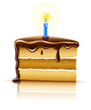 Piece of birthday chocolate cake with candle Stock Photography