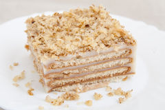 Piece of biscuit cake on plate Stock Photography