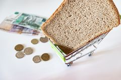 A piece of black bread in shopping cart, coins and paper rubles on the table. The concept of poverty, lack of money for food.  stock images