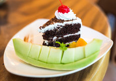 Piece of black forest cake Royalty Free Stock Photos