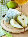 Piece of blue cheese with fruits Royalty Free Stock Photography
