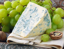 Piece of blue cheese with fruits stock photography
