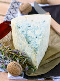 Piece of blue cheese with fruits Royalty Free Stock Photos