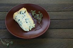 Piece of blue cheese on a plate Royalty Free Stock Photography