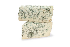 Piece of blue cheese on white background Royalty Free Stock Images