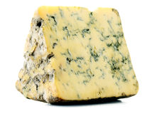 Piece of blue cheese on white Stock Images