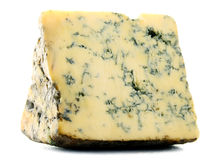 Piece of blue cheese on white Royalty Free Stock Photos