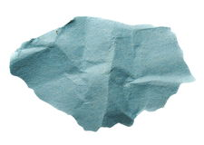 Piece of blue crumpled paper isolated on white background Stock Image