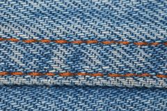 Piece of blue denim structure of the yellow line Royalty Free Stock Photography