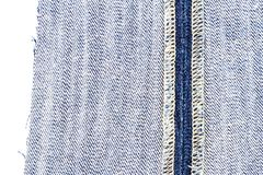 Piece of blue jeans fabric stock photos