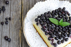 Piece of blueberry cake decorated with mint. Piece of fresh blueberry cake decorated with mint Stock Images