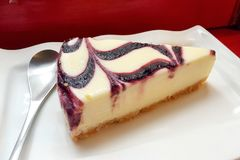 A piece of blueberry cheese cake Royalty Free Stock Images
