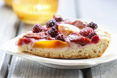 Piece of blueberry, peach and plum cake Royalty Free Stock Images