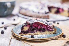 Piece of blueberry pie Stock Photos