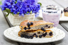 Piece of blueberry pie. Selective focus Royalty Free Stock Photography