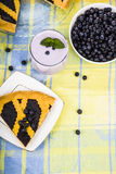 Piece of a blueberry pie and smoothies Stock Photo