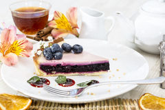 Piece of blueberry pie Stock Photo