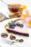 Piece of blueberry pie Stock Photos