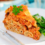 A Piece of Bolognese Pasta Bake Royalty Free Stock Photography