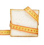Piece of bread grasped by measuring tape= Stock Photography
