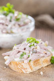 Piece of bread with Meat Salad Royalty Free Stock Photo