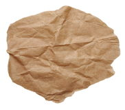 Piece of brown crumpled paper isolated on white Stock Photo
