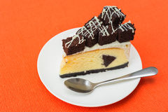 A piece of brownie cheesecake Royalty Free Stock Photos