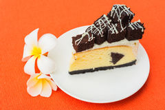 A piece of brownie cheesecake Royalty Free Stock Images