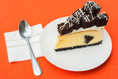 A piece of brownie cheesecake Stock Photos