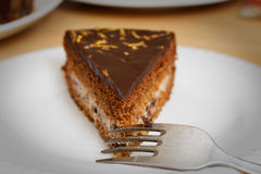 Piece of brownie - chocolate cake with cherry. Shallow focus. Stock Images