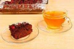 Piece of brownie - chokolate cake with cherry Stock Photo