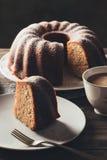 Piece of bundt cake with coffee Royalty Free Stock Photos