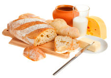 Piece of butter, bread and a knife Royalty Free Stock Photos