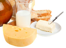 Piece of butter, bread and a knife Royalty Free Stock Image