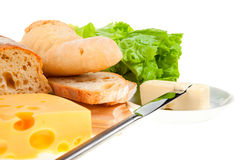 Piece of butter, bread and a knife Royalty Free Stock Photography