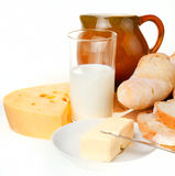 Piece of butter, bread and a knife Stock Image