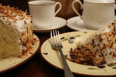 A piece of cake. Shot of coffee creamer & cake Royalty Free Stock Image