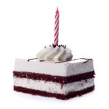 Piece of cake. With a candles on white background Stock Photo