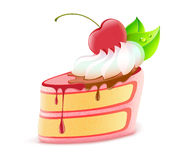 Piece of cake. Vector illustration of stylized piece of delicious cake dessert with cream and cherry stock illustration