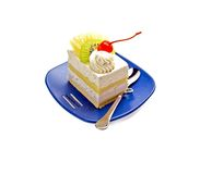 Piece of cake. Piece of fresh fruit cake on white background Royalty Free Stock Photos