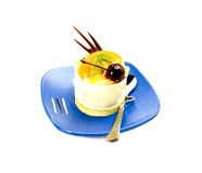 Piece of cake. Piece of fresh fruit cake on white background Royalty Free Stock Images