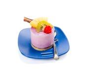 Piece of cake. Piece of fresh fruit cake on white background Stock Photography