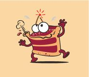 Piece of cake animated character with cherry bomb stock illustration