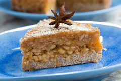 Piece of cake with apple jelly, closeup Royalty Free Stock Photo