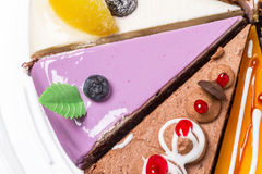 Piece of cake with blueberries Stock Images