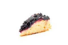 Piece of cake with blueberries on a white background Royalty Free Stock Photography