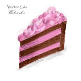 A piece of cake. A piece of cacke with pink cream royalty free illustration