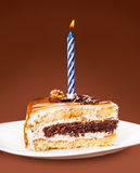Piece of cake with a candle Royalty Free Stock Image